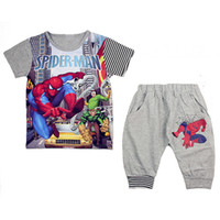 Wholesale 2013 children s wear Spiderman suits boys clothing sets kids tracksuits sports suit cotton top quality boys outfit kids set LZ T0104