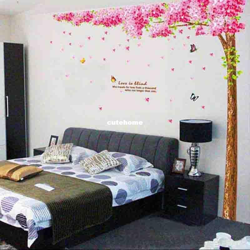 Big Wall Decals For Bedroom : Cherry Tree Large Wall Stickers Bedroom Sofa  TV Background Wallpaper Part 70