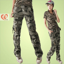 Wholesale Women s spring summer outdoor leisure overalls cargo pants army fans multi pocket camouflage Cargo Pants