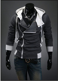 Wholesale NEW Assassin's Creed III 3 Desmond Double Collar Cosplay Costume Hoodie Coat Jacket