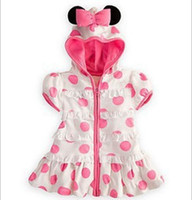Wholesale 5 Summer Kids Girls White Pink Polka Dot Minnie Mouse dress x082
