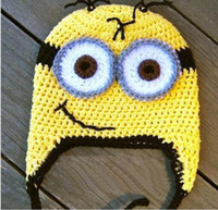 Wholesale Hot Sale New handmade crochet minion Despicable me inspired baby hat Beanie phot prop gift