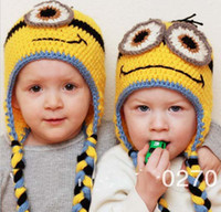 Wholesale Bran New Despicable me minion beanie handmade crochet baby girls boys hat