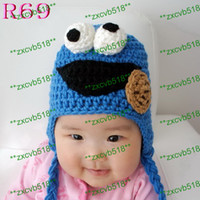 Wholesale Kids crochet Beanie Hat Baby Cookies monster Hat Winter Gift Children Handmade Knitting Beanie Hat