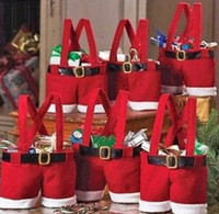 Wholesale Santa pants style Christmas candy gift bag Xmas Bag Gift