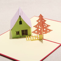 Wholesale Christmas Tree amp House Handmade Creative Kirigami amp Origami D Pop UP Greeting amp Gift Cards set of