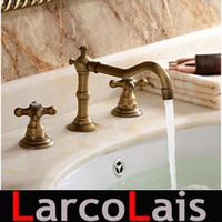 Wholesale 3Pcs Faucet Sets Antique Brass Water Tap Double Handle Widespread Tap Bathroom Bathtub Basin Sink Mixer Tap Faucets