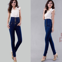 Wholesale Europe Elegant Vintage high waist double breasted jeans female slim single breasted pencil skinny jeans plus size XL XL