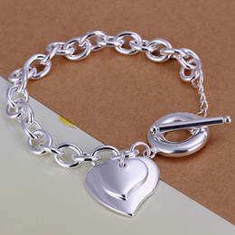 Mix 20 Styles Fashion 925 Silver Links Chain Bracelets Jewelry Woman Girl Lady Lovely Double Heart Pendant Charm Bracelets Girls Gift Hot