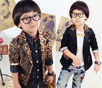 Wholesale boys leopard suit children long sleeve coat kids fashion outwear popuplar autumn clothing brown black hzgggmy