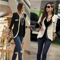 Jackets Women Synthetic A135 free shipping 2014 women new fashion black white long design long sleeve casual suits blazers ladies spring jackets plus size S-XL