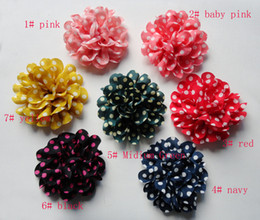 Wholesale colours for your choose polka dots chiffon fabric flower with felt back appliqued for hair accessories hat shoes