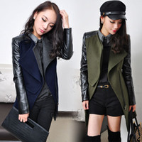 Wholesale Wholesale__Womens Leather Sleeve Wool Winter Warm Jacket Coat Trench Outwear Overcoat Parka