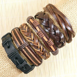Free shipping hot sell Wholesale (6pcs lot) brown and black braided ethnic tribal genuine adjustable leather bracelets for Unisex-D153