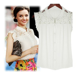Wholesale blouse fashion new women summer new star temperament was thin hollow lace chiffon chiffon