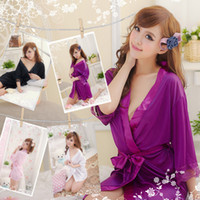 Wholesale Lady Sexy Satin Lingerie Chiffon Sleepwear Nightdress Robes Lace G String Gown