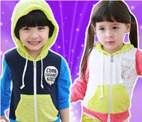 Wholesale Children s clothing New Fashion Autumn Spring Kids Boy Girl Pocket Pink Blue Long sleeve Pink Blue Patch Cotton Cardigan Sweater Hoodie