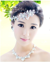 Wholesale Free ship Hot best pearl Soft white pearl diamond chain head Korean wedding flower hair accessories Earrings amp Necklace amp Headdress
