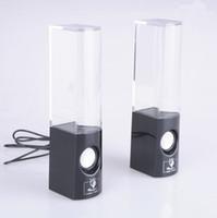 al por mayor agua altavoces-Altavoz de baile de agua de colores llevó un par USB fuente de la música Altavoz Tapa Boombox para MP3 / Telefonía Móvil / Ordenador Negro Blanco