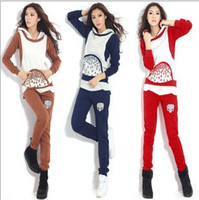 Long Sleeve M/L/XL Fleece  2013 New Fashion Women's Sweat suit Han edition Hoodie Loose Add thick Fleece Movement hoodies Leisure Two-piece Tracksuits HM09082