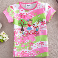 Wholesale K2868 Nova new products y y baby girls pink t shirts kids summer wear girl riding bicycle embroidery cotton short sleeve floral tee shirt