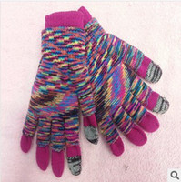 Wholesale 2013 two piece Touch Gloves stripe Smartphone Touchscreen Winter Gloves Blue Green Multi pairs DHL free TOUCH3