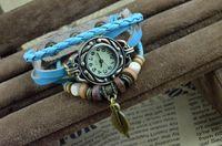 Wholesale New Arrival fashion quartz Women Wrist watch Bracelet with leaves Cow Leather colors aviaible Vintage Mix order