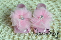 Wholesale Trail Order Barefoot Baby Sandals with Two Pearl With Rhinestone Tulle Flowers Baby Shoes Baby Accessories pair QueenBaby