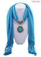 Wholesale 2013 New Fashion Pendant Scarf Winter Style Round Gemstone Turquoise Tassel Cotton Scarves Women A0004