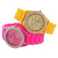 Wholesale FREE Colorful jewelry rose stone Geneva watch candy jelly silicone band Unisex Quartz crystal watches Utop2012