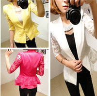 Wholesale NEW Womens Slim Short ONE Button Suit Blazer Sleeve OL Outwear Jacket Coat