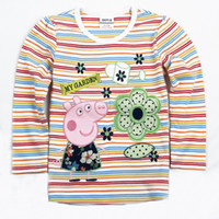Girl Spring / Autumn Standard Peppa Pig Clothes cute Peppa Pig Girl Long Sleeve Top T shirt Tees Stripe Peppa In The Garden
