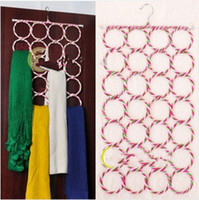 Wholesale 28 hole Ring Rope Slots Holder Hook Scarf Wraps Shawl Storage Hanger Organizer