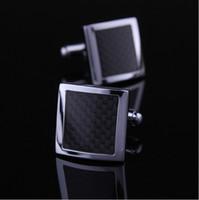 Wholesale XK003 Fashion Black Carbon Fibre Cufflinks Sleeve Nail Shirt Cufflinks