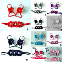 Unisex   Trial Order Baby Barefoot Sandals with Satin Flower and Matching thin Elastic Headband 10set lot QueenBaby