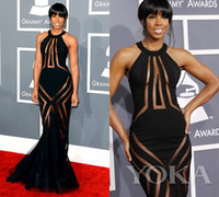 Wholesale 2014 summer Pageant Dresses kelly rowland th Annual grammys red carpet tulle satin Black Mermaid sexy Celebrity Dresses