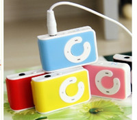 Wholesale FREE DHL Mini Clip Mp3 player with card slot MP3 earphone USB cable retail box for gift