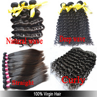 Wholesale A OFF quot to quot Straight Natural Wave Deep Wave Curly Unprocessed Human Hair Extensions Weave
