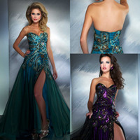 A-Line Sexy Feather 2014 Hot Sweetheart Peacock Split Tulle Prom Dresses with Rhinestones and Zip Back MD 42660M