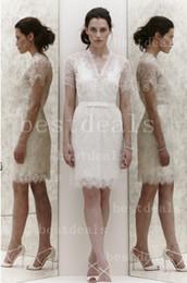 New Jenny Packham Summer Beach Wedding Dresses Sexy Deep V Neck Lace Sash Sheath Wedding Gown BO1452