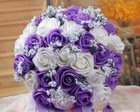 Wholesale high quality Purple Bribe bouquet of flowers wedding Bride wedding holding flowers PE rose MYY5397