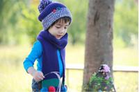Wholesale Korean Sphere Button Color Hat Scarves Warm Set Mixed Colors Acrylic Jacquard Scarf hat Piece Suit