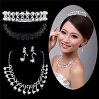 Rhinestone Rhinestone Sets Wedding accessories Rhinestone Crystal Tiara Crown for Wedding Bride Pageant Hair Jewelry WS1054