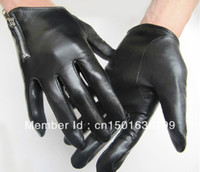 Wholesale Man s short side zipper top quality goat leather black motor everyday gloves