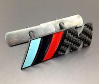 Wholesale Excellent M Front Grille car badge sticker For BMW M3 M5 M6 X1 X3 X5 X6 Z4 E36 E46 E92 black Carbon fiber pattern car emblem