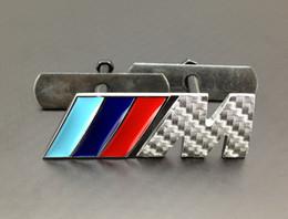 Wholesale Excellent car stickers M Metal Carbon fiber pattern Front Grill car badge For BMW M3 M5 M6 X1 X3 X5 X6 Z4 E36 E46 E92 emblem