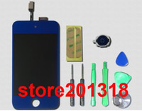 Wholesale Blue LCD Display Touch Screen Glass Digitizer Assembly Home Button Full set Tools Adhesive Sticker For iPod Touch