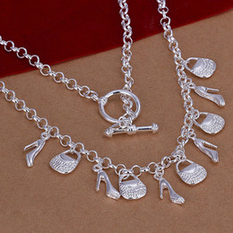 cystal 925 silver lock pendant women's necklace free shipping