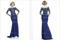 New Arrivals Mother of Bride Dresses Long Sleeves Blue Lace ...