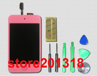 Wholesale For ipod Touch LCD Display Touch Screen Glass Digitizer Assembly Home Button Full set Tools And Adhesive Sticker Pink
